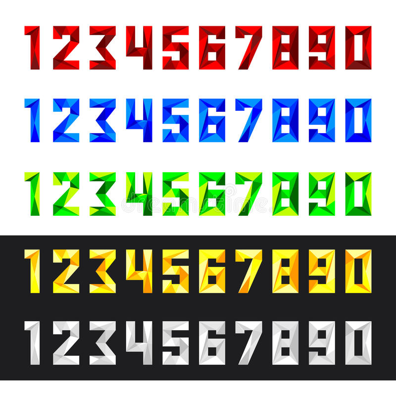 Numbers set from 0 to 9 in polygonal style royalty free illustration