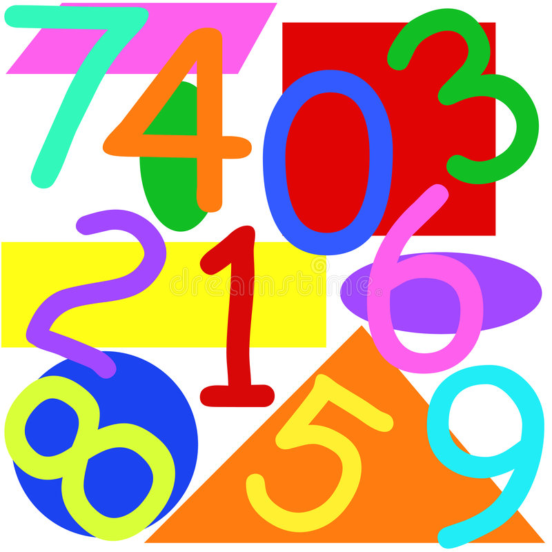 Numbers and shapes vector illustration