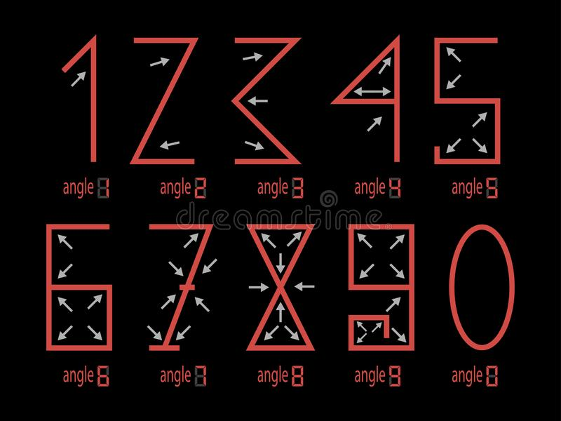 Numbers Shapes Corresponding Angles to a Figure stock photography