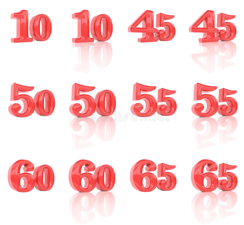 The numbers in the three-dimensional image 10 to 65 royalty free stock photo