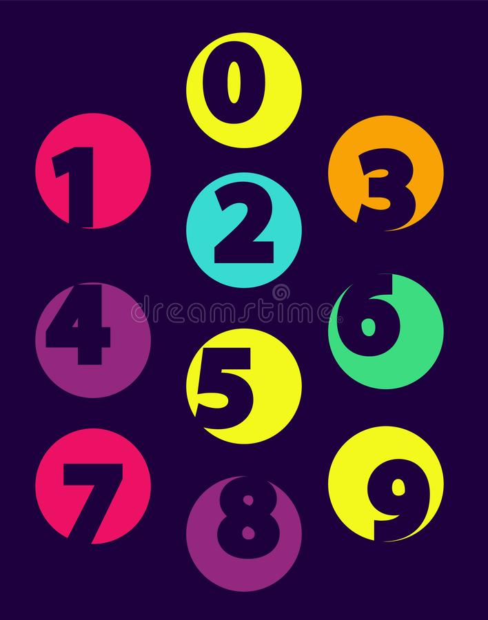 Numbers From 0 till 9 Color Sample Isolated Black stock illustration