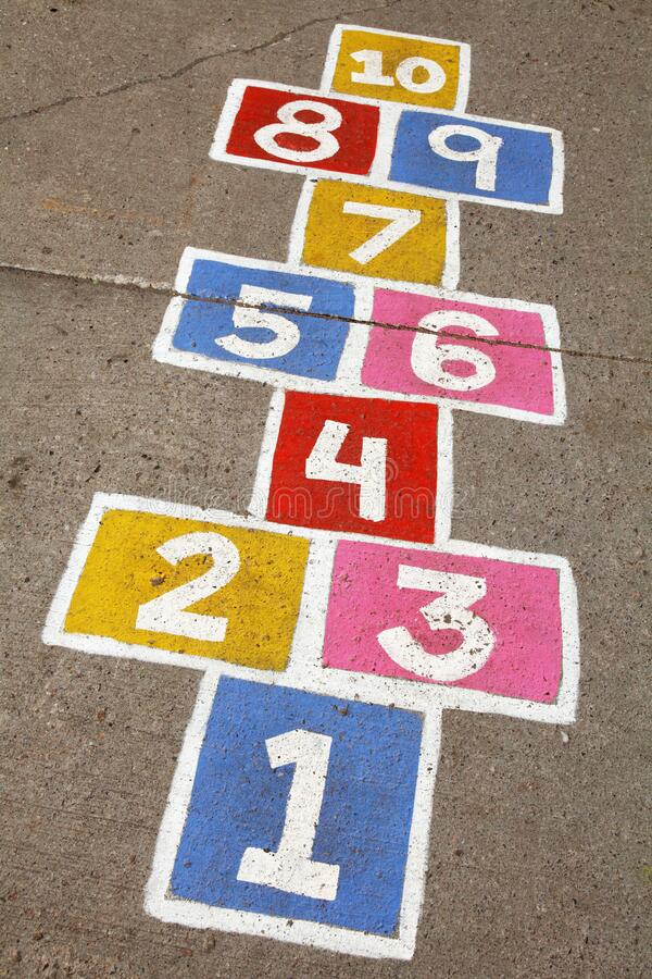 Colorful hopscotch numbers royalty free stock photography