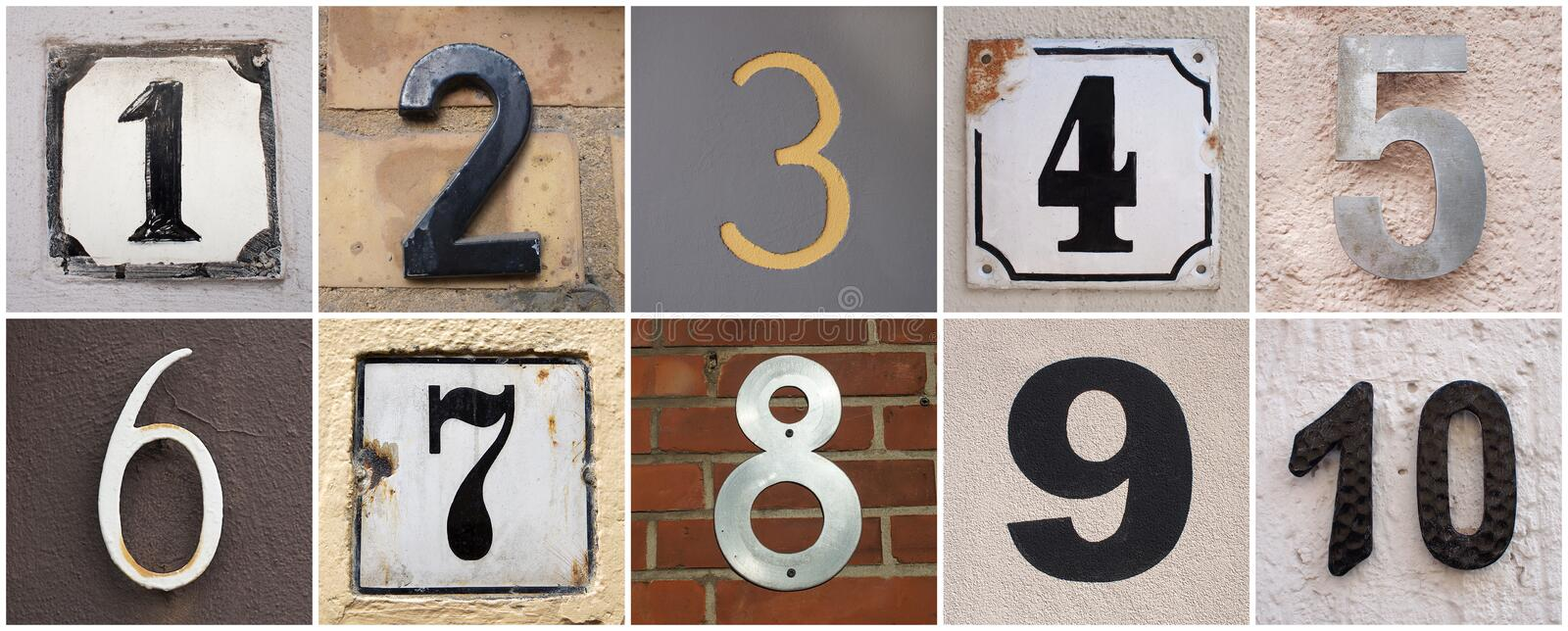 Numbers 1 to 10 stock photography