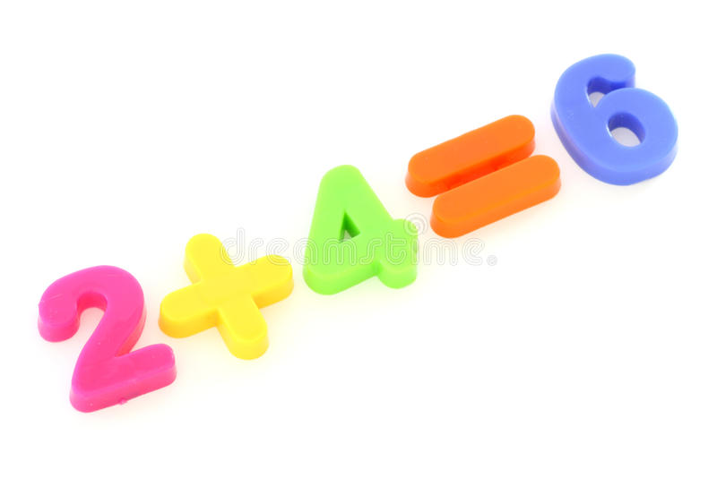Numbers from toy colourful digits. Numbers formed from plastic colourful toy digits on white background stock images