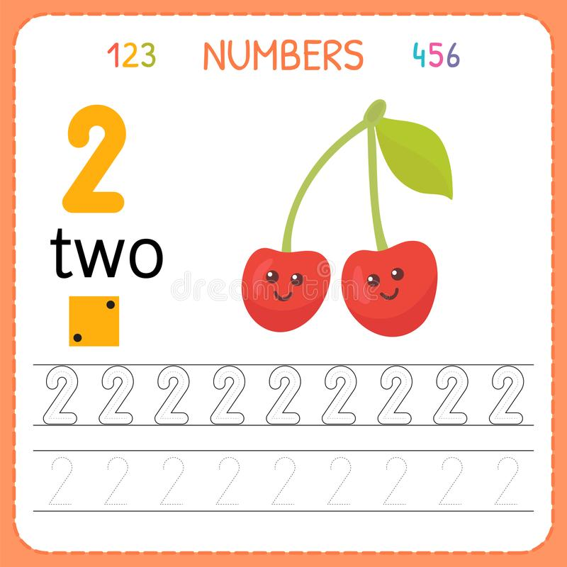 Numbers tracing worksheet for preschool and kindergarten. Writing number Two. Exercises for kids. Mathematics games vector illustration