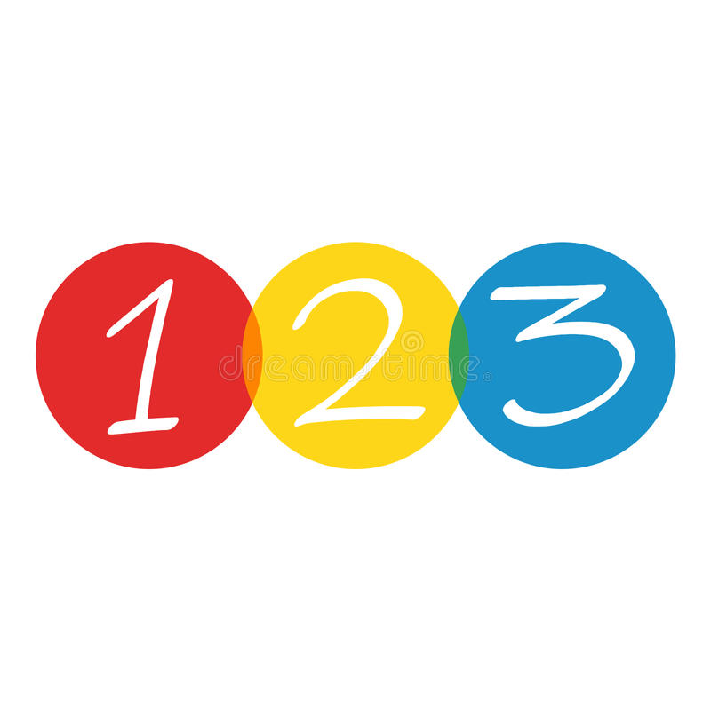 Download Numbers 123 stock illustration. Image of yellow, blue - 87901825