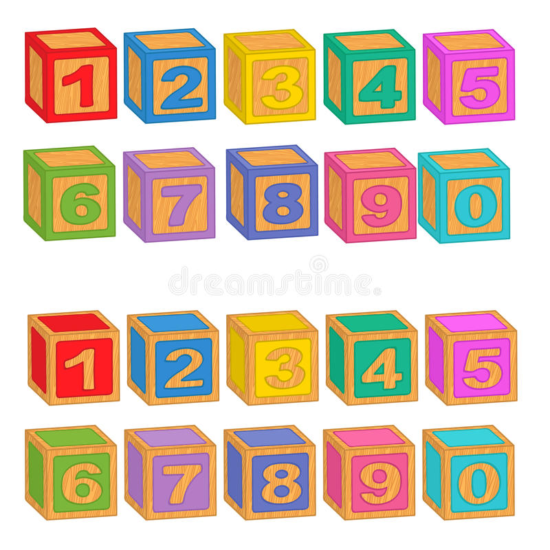 Numbers wooden colorful blocks. Vector illustration, eps stock illustration
