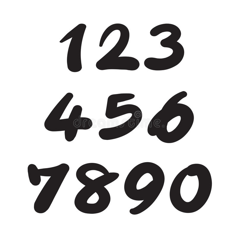 Download Numbers 0 9 Written With A Brush Stock Vector