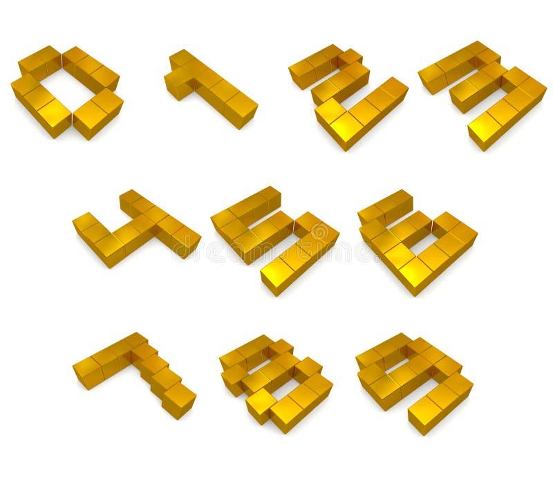 Numera 3d de oro cúbico stock de ilustración