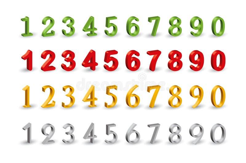 Numera iconos del Web 3D. ilustración del vector