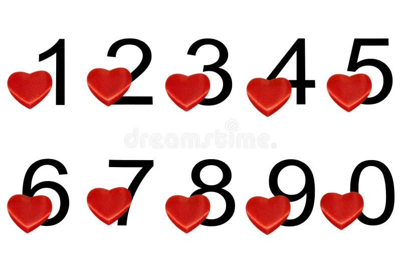 Numerais árabes com corações ilustração stock