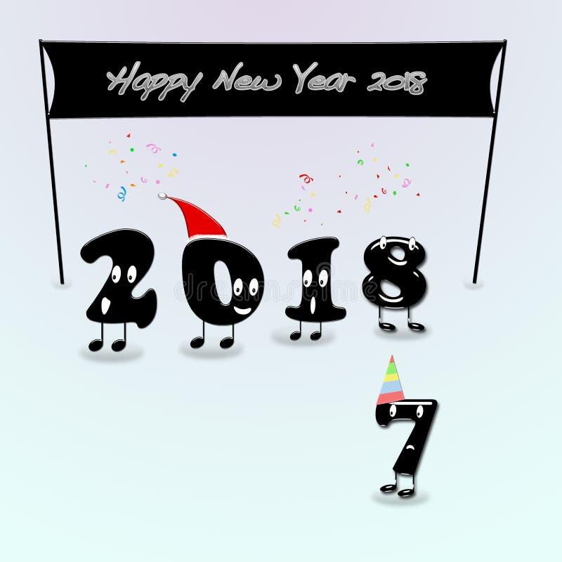 Numerais animados de 2018 anos que felicitam com ano novo ilustração do vetor
