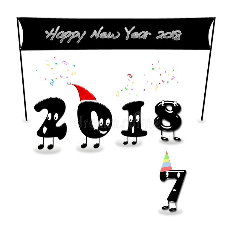 Numerais animados de 2018 anos que felicitam com ano novo ilustração stock