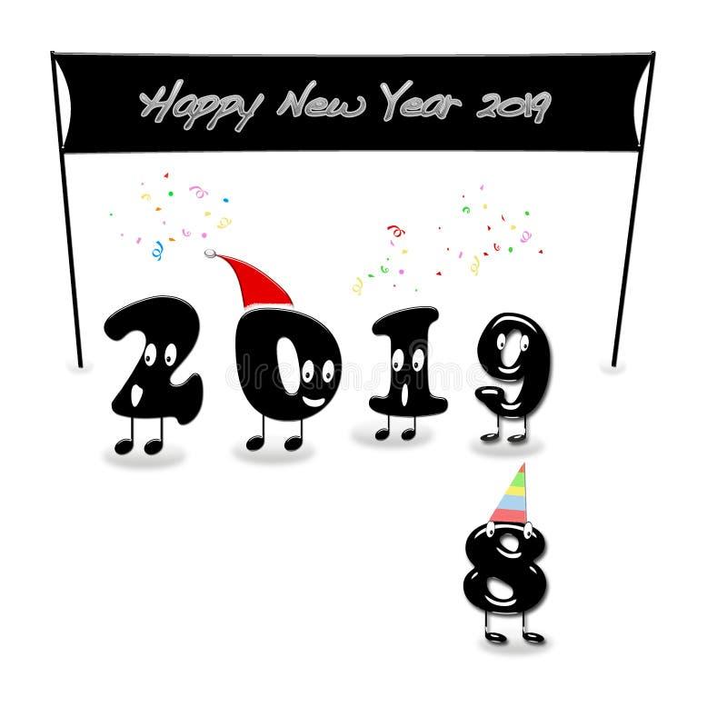 Numerais animados de 2019 anos que felicitam com ano novo ilustração do vetor