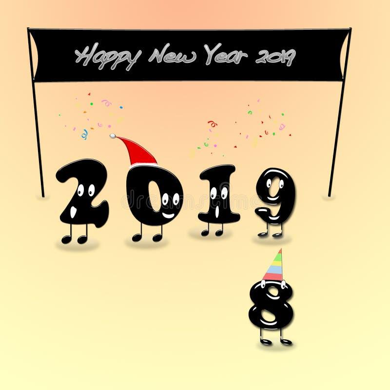 Numerais animados de 2019 anos que felicitam com ano novo imagens de stock royalty free