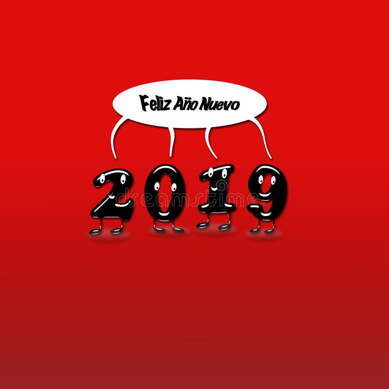 Numerais animados de uma felicitação de 2019 anos ilustração stock