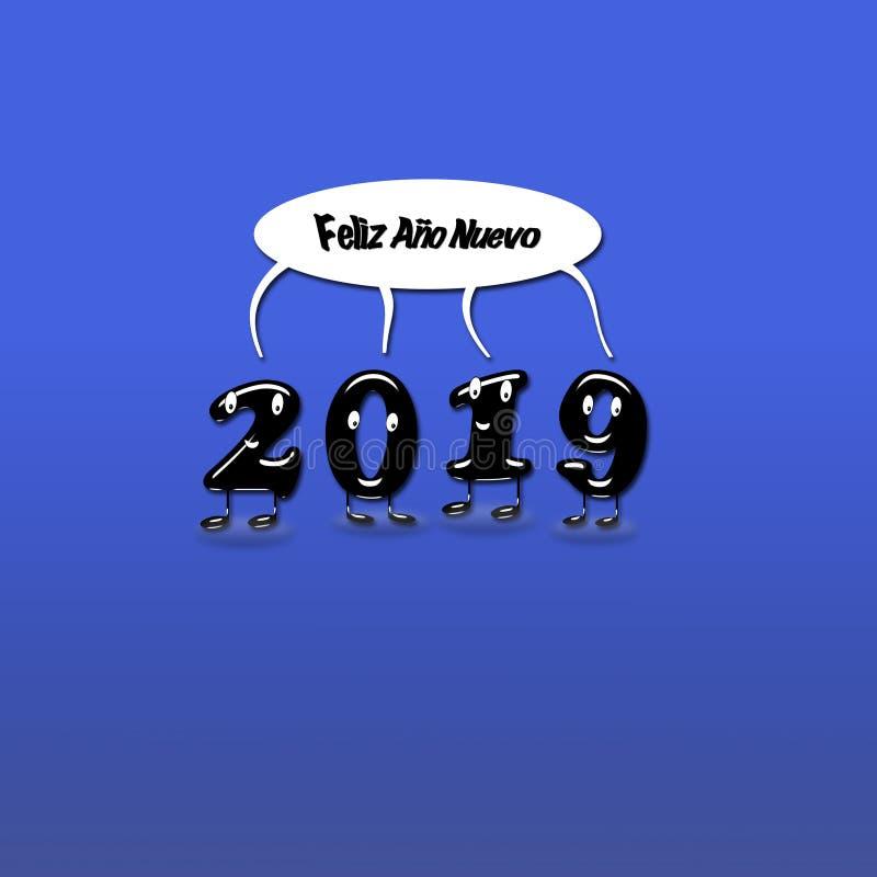 Numerais animados de uma felicitação de 2019 anos imagens de stock royalty free