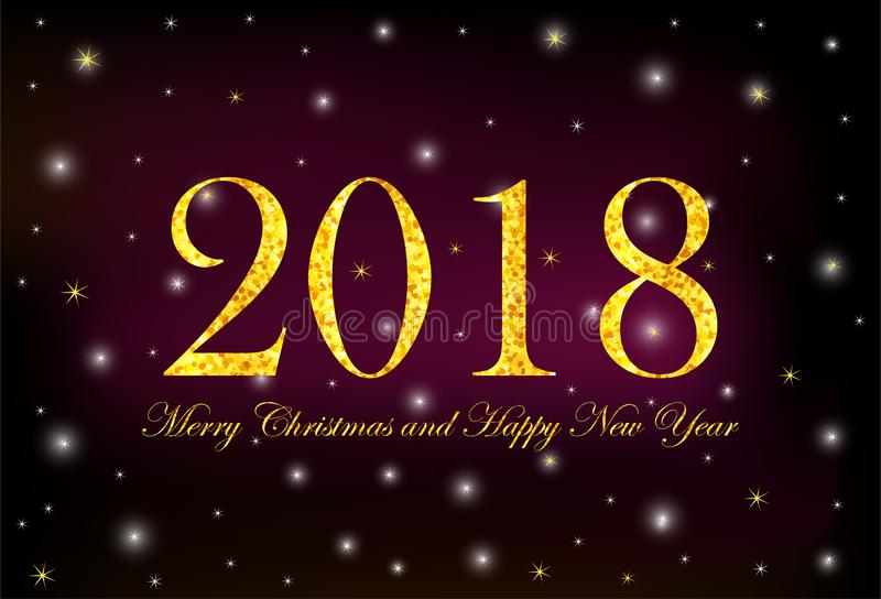 Numerais 2018 do ouro e Feliz Natal do texto e ano novo feliz o ilustração royalty free