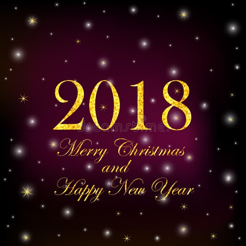 Numerais 2018 do ouro e Feliz Natal do texto e ano novo feliz o ilustração stock