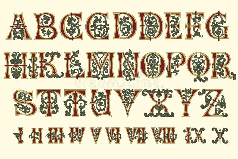 Numerais medievais e romanos do alfabeto ilustração do vetor