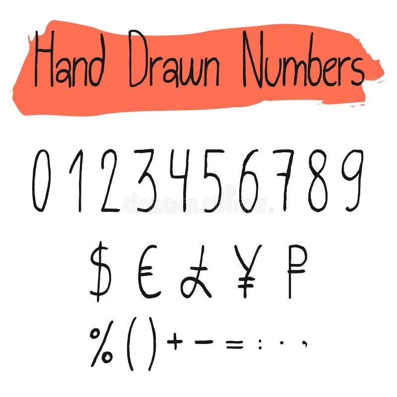 Numerais simples escritos à mão do vetor ajustados ilustração stock