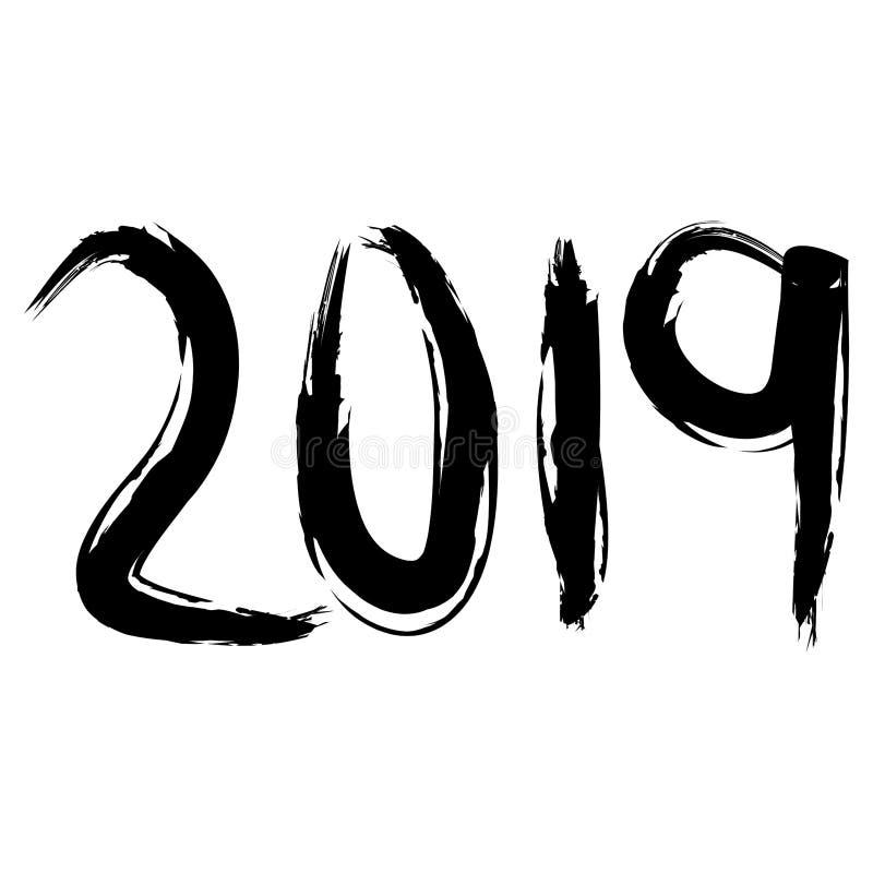 Numerais vinte dezenove no curso preto da escova pelo ano novo ilustração do vetor