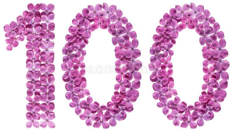 Numeral árabe 100, cem, das flores do lilás, isoladas imagens de stock royalty free