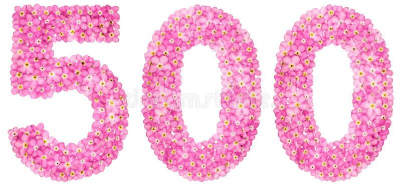 Numeral árabe 500, cinco cem, da flor cor-de-rosa do miosótis foto de stock