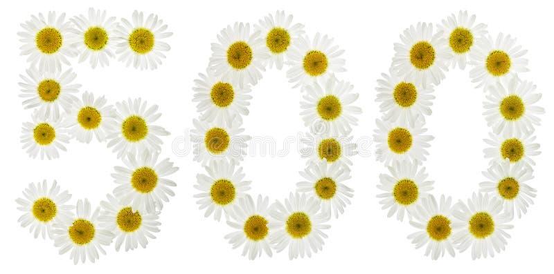 Numeral árabe 500, cinco cem, das flores brancas do chamomil imagem de stock