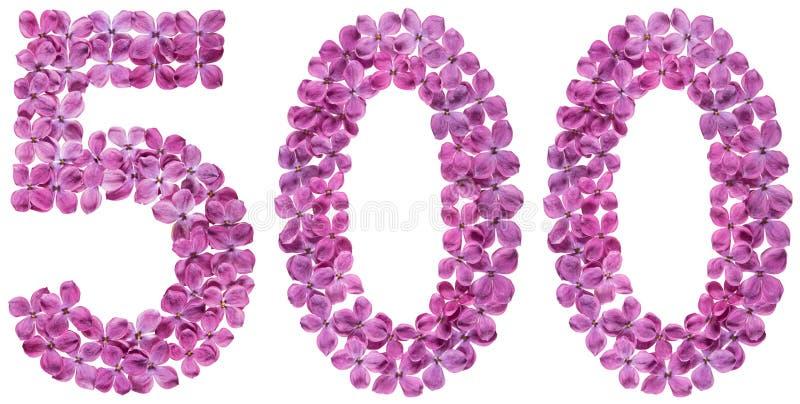 Numeral árabe 500, cinco cem, das flores do lilás, isolado imagens de stock royalty free