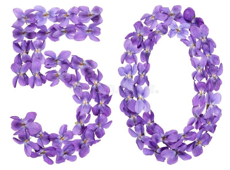 Numeral árabe 50, cinqüênta, das flores da viola, isoladas no whi foto de stock royalty free