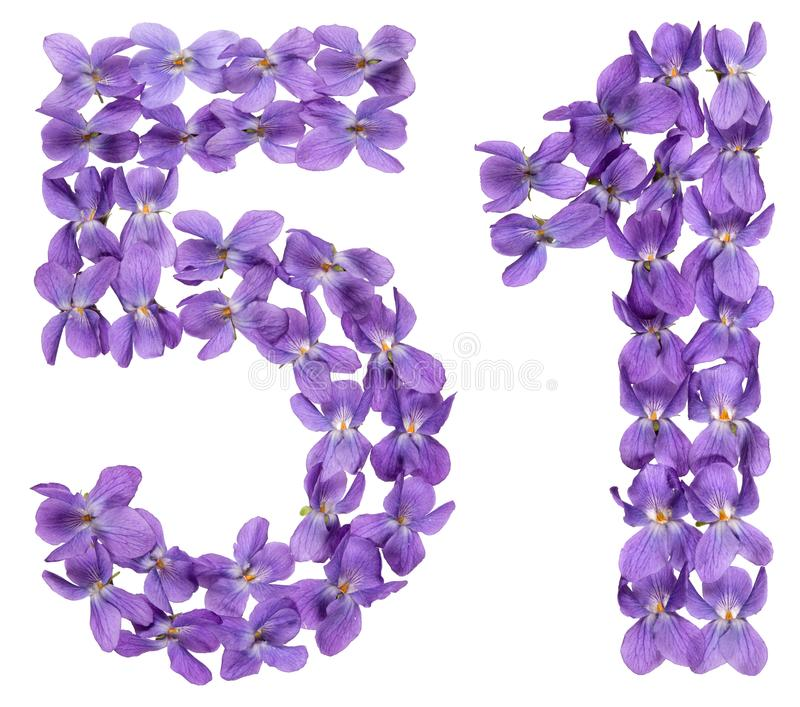 Numeral árabe 51, cinqüênta uns, das flores da viola, isoladas sobre foto de stock