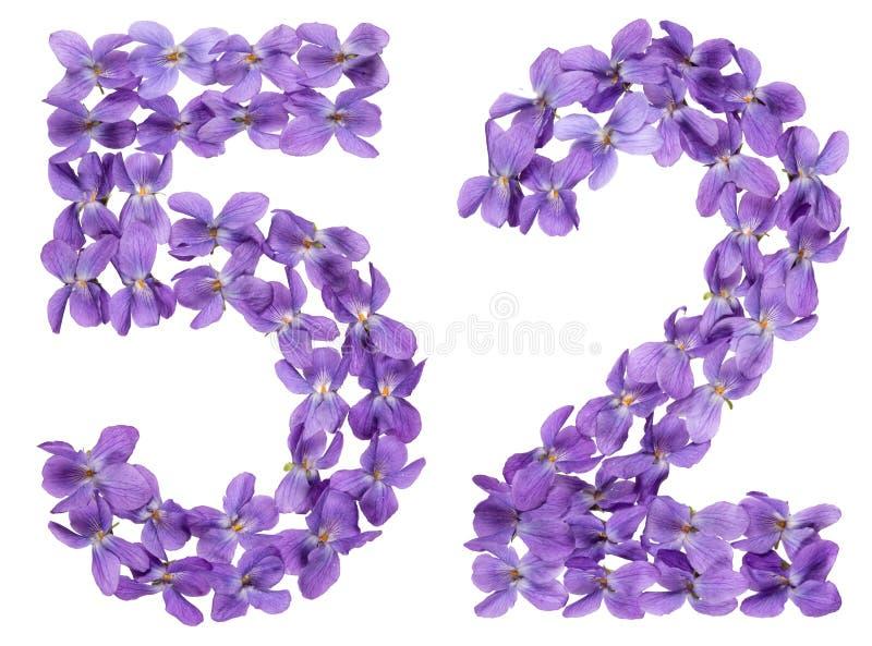 Numeral árabe 52, cinquenta e dois, das flores da viola, isoladas sobre fotos de stock royalty free