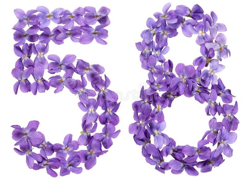 Numeral árabe 58, cinquenta e oito, das flores da viola, isoladas imagens de stock