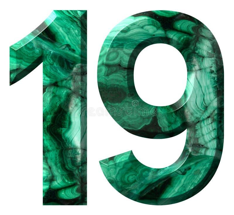 Numeral árabe 19, dezenove, da malaquite verde natural, isolada no fundo branco ilustração do vetor