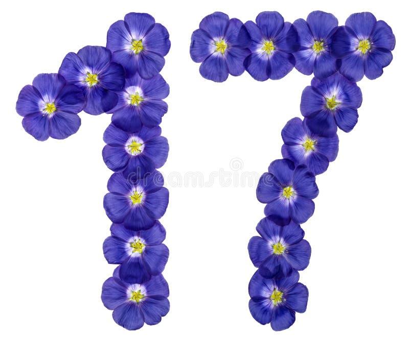 Numeral árabe 17, dezessete, das flores azuis do linho, isolado imagem de stock