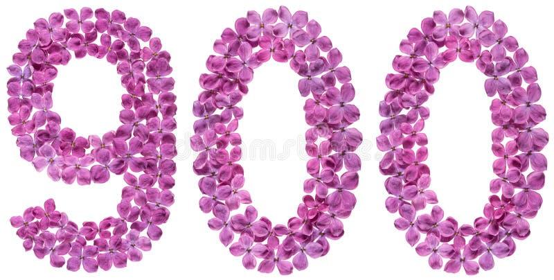Numeral árabe 900, novecentos, das flores do lilás, isolado foto de stock royalty free