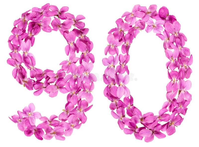 Numeral árabe 90, noventa, das flores da viola, isoladas no wh fotografia de stock