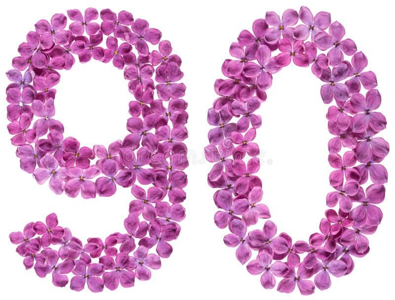 Numeral árabe 90, noventa, das flores do lilás, isoladas no wh imagens de stock