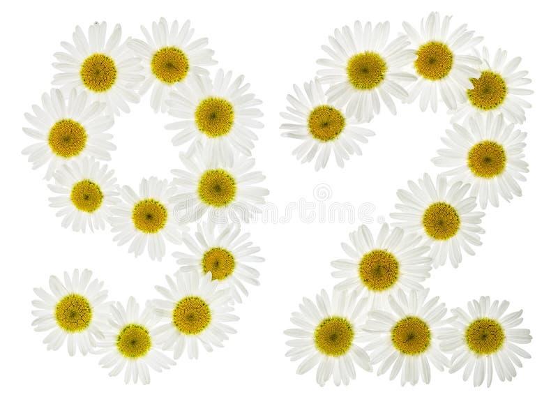 Numeral árabe 92, noventa dois, das flores brancas da camomila, imagem de stock royalty free