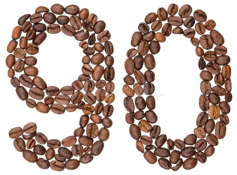 Numeral árabe 90, noventa, dos feijões de café, isolados no branco fotos de stock royalty free