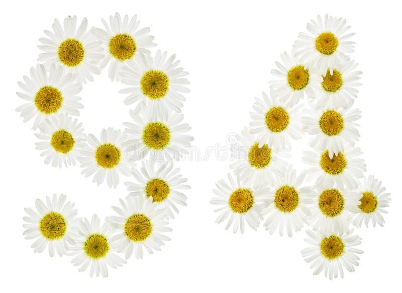 Numeral árabe 94, noventa quatro, das flores brancas da camomila, fotografia de stock