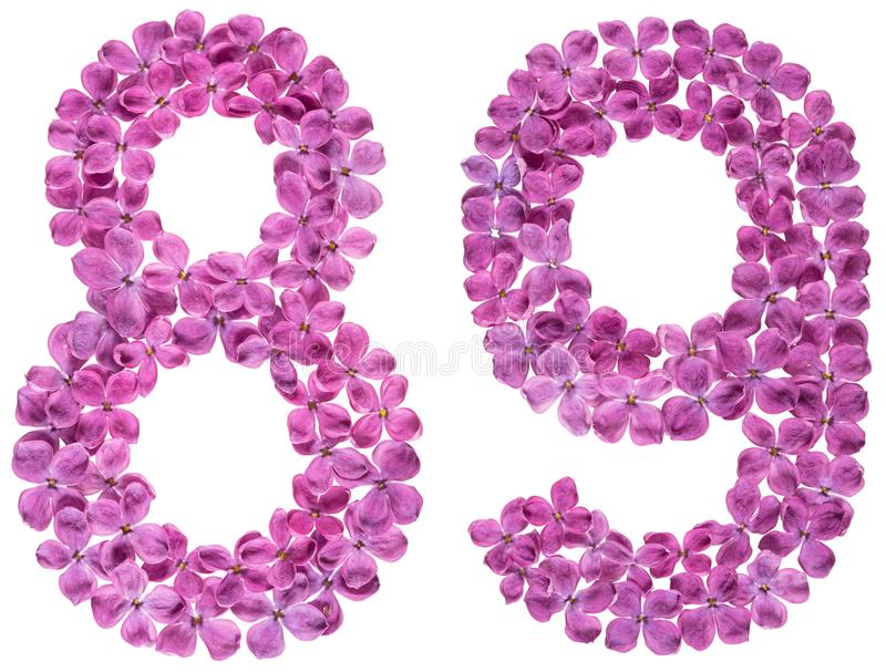 Numeral árabe 89, oitenta e nove, das flores do lilás, isoladas fotografia de stock royalty free