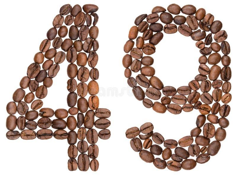 Numeral árabe 49, quarenta e nove, dos feijões de café, isolados no wh imagens de stock