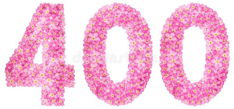 Numeral árabe 400, quatro cem, da flor cor-de-rosa do miosótis imagem de stock