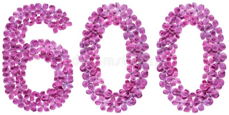 Numeral árabe 600, seis cem, das flores do lilás, isoladas fotografia de stock royalty free