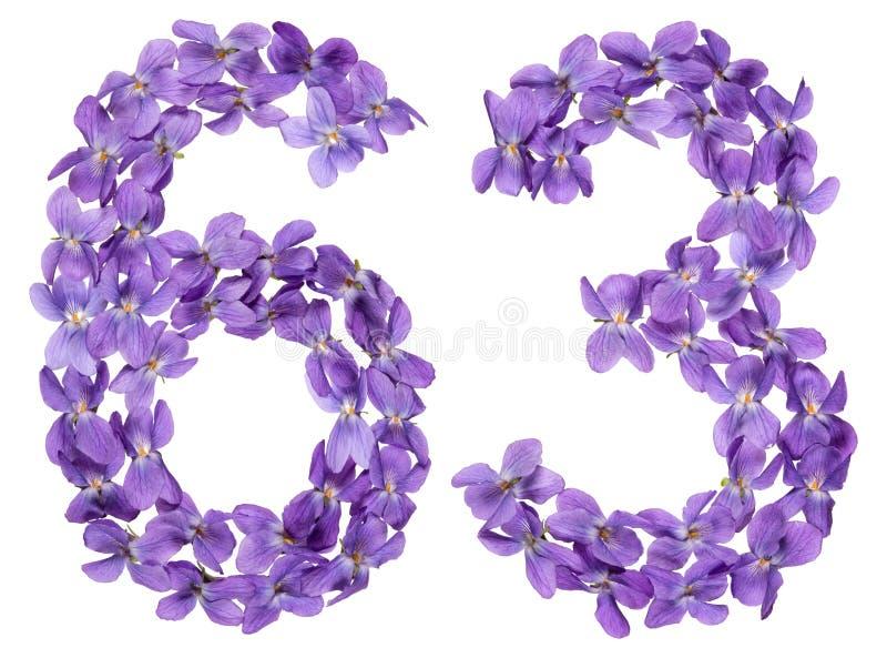 Numeral árabe 63, sessenta e três, das flores da viola, isoladas imagens de stock royalty free