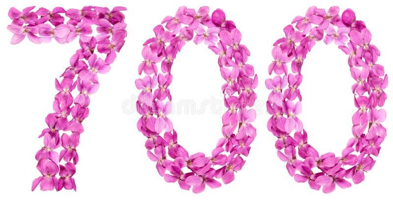 Numeral árabe 700, sete cem, das flores da viola, isolat fotos de stock