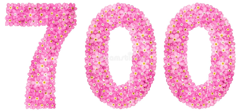 Numeral árabe 700, sete cem, do flowe cor-de-rosa do miosótis fotos de stock