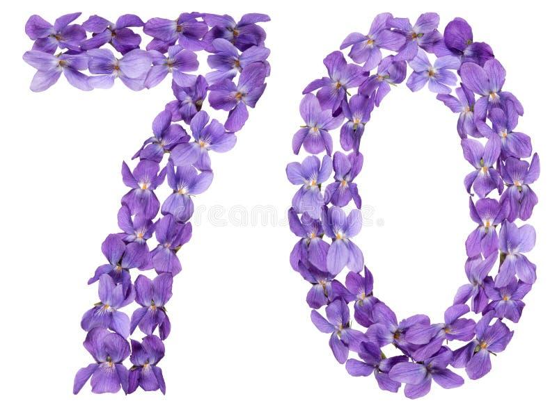 Numeral árabe 70, setenta, das flores da viola, isoladas em w fotografia de stock